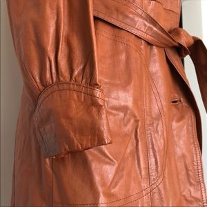 Vintage 70s 80s Genuine Leather Cognac Trench Coat
